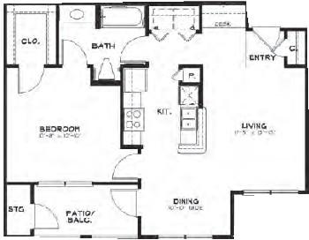 750 sq. ft. 60% floor plan