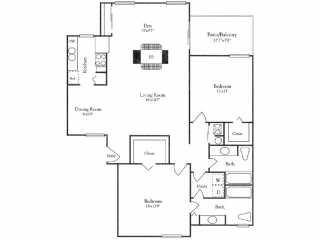 1,355 sq. ft. B3Y floor plan
