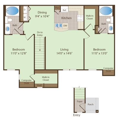 1,131 sq. ft. THORNTON floor plan