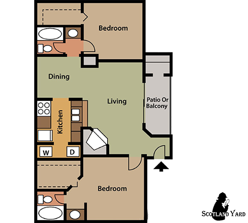 925 sq. ft. B5 floor plan