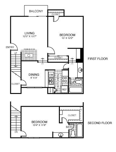 1,194 sq. ft. St. Paul floor plan