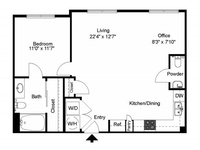 809 sq. ft. A5 floor plan