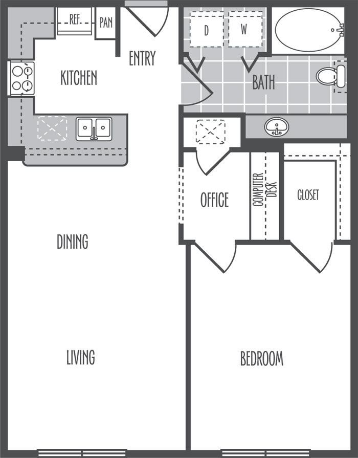 824 sq. ft. B3 floor plan