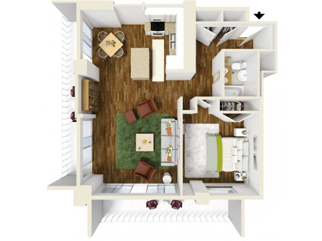 844 sq. ft. Corner floor plan