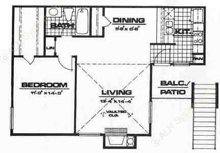 725 sq. ft. A1-VILLA floor plan