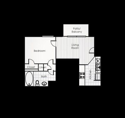 475 sq. ft. A1EFF floor plan