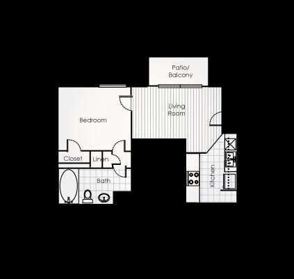 475 sq. ft. A1EFF floor plan
