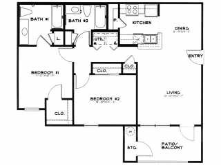 1,172 sq. ft. MKT floor plan