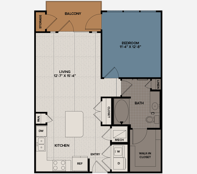 736 sq. ft. A4 floor plan