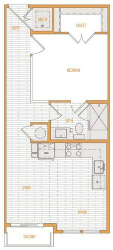 542 sq. ft. A1 Alt 2 floor plan