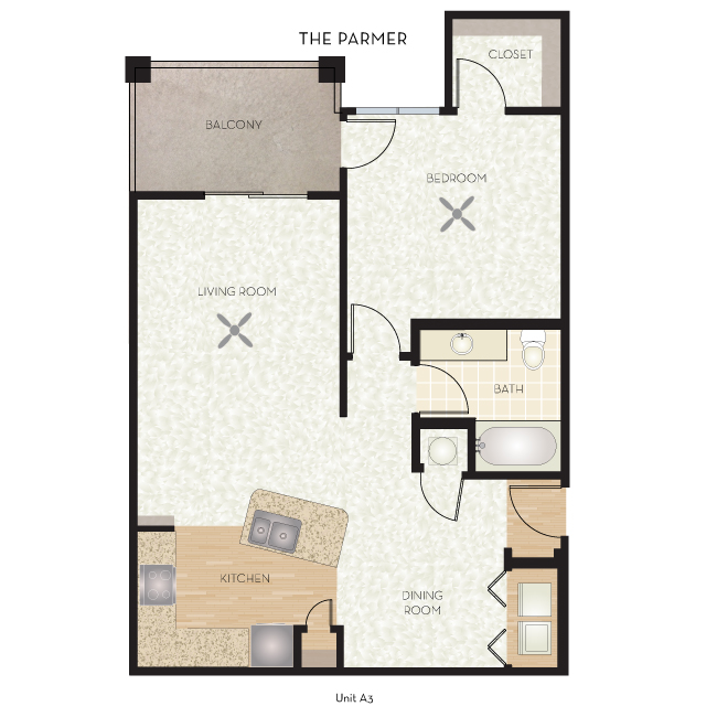 819 sq. ft. Parmer floor plan