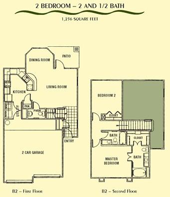 1,236 sq. ft. B2 floor plan