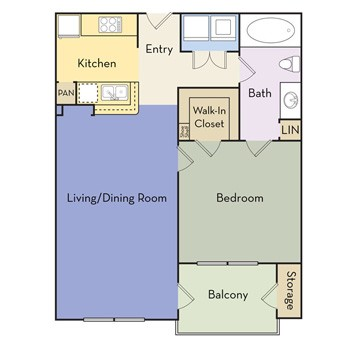 689 sq. ft. Aubrey - A1B II floor plan