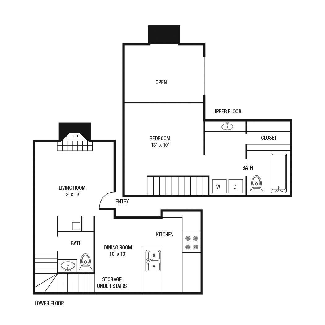 843 sq. ft. A-5 floor plan