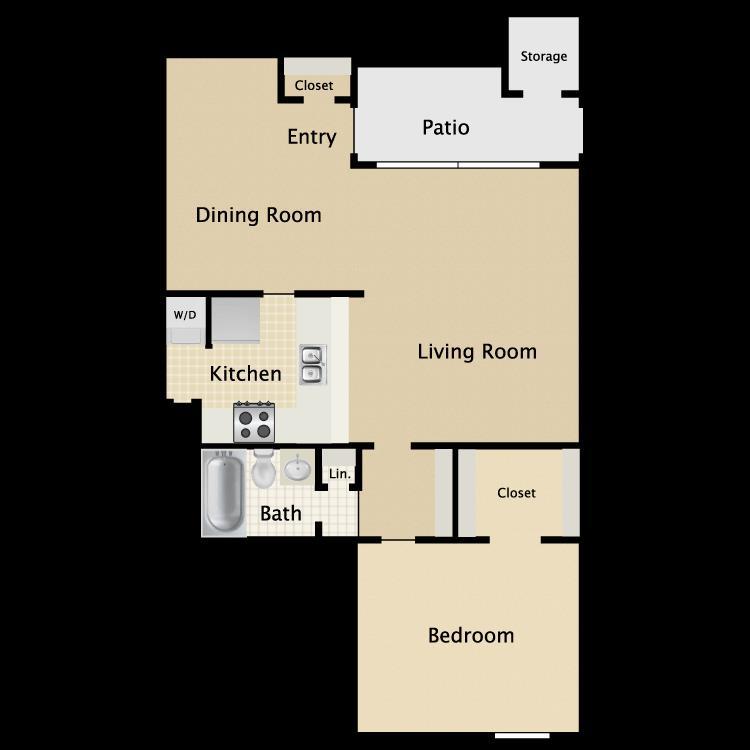 730 sq. ft. A3 floor plan