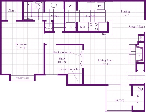 930 sq. ft. 1AS floor plan
