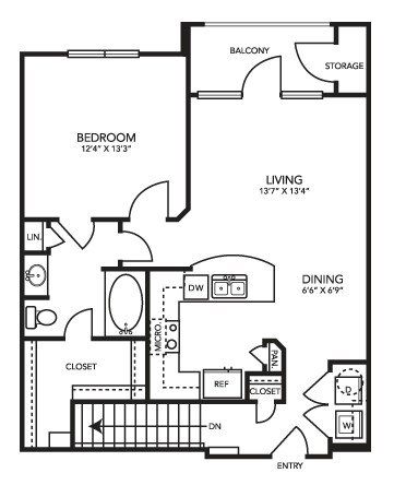 808 sq. ft. A2G floor plan