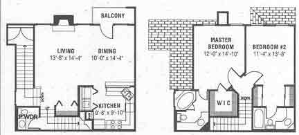 1,359 sq. ft. E floor plan