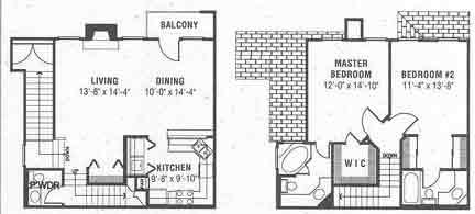 1,359 sq. ft. E floor plan