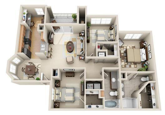 1,354 sq. ft. Amsterdam floor plan