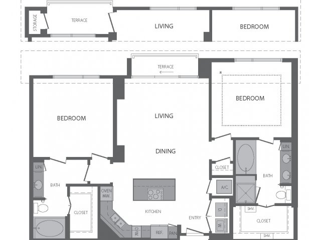 1,267 sq. ft. to 1,379 sq. ft. L floor plan