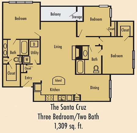 1,309 sq. ft. C1 floor plan