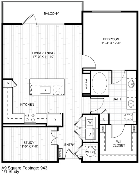 932 sq. ft. A11 floor plan