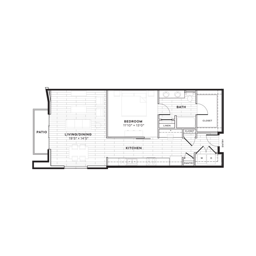 929 sq. ft. 1D floor plan