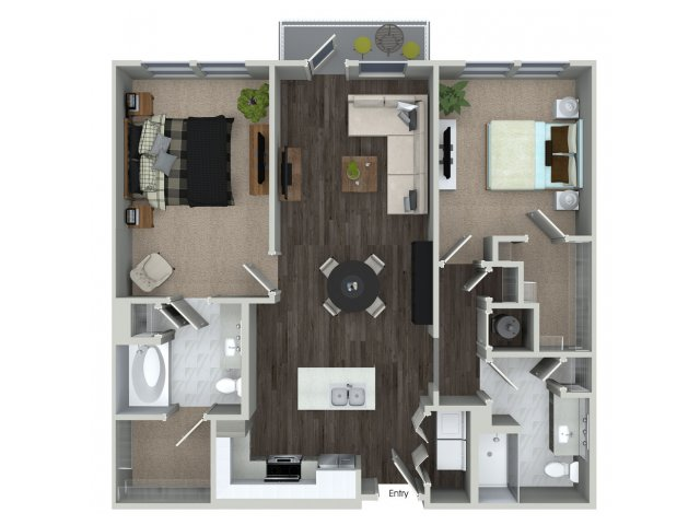 1,117 sq. ft. B1.3 floor plan