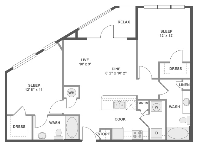 1,020 sq. ft. C4 floor plan