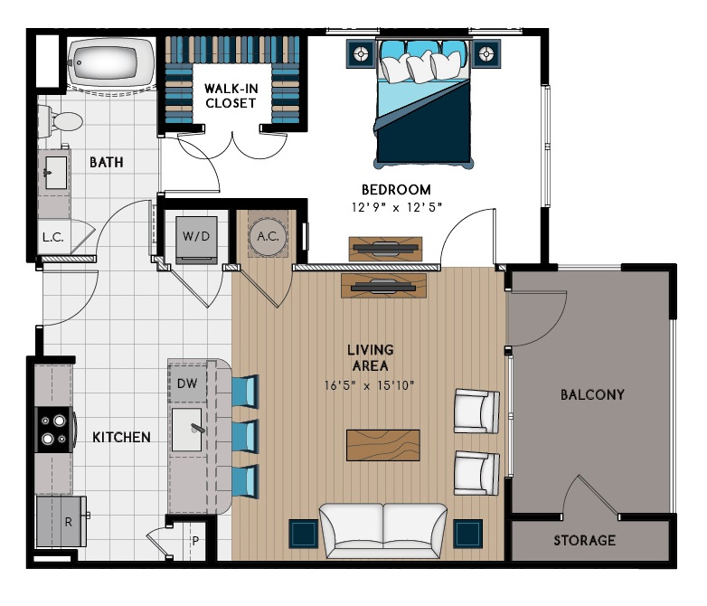 806 sq. ft. 1A floor plan