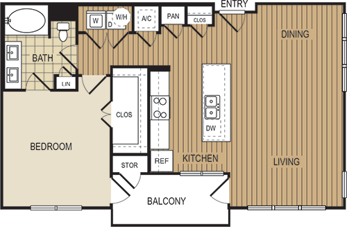 902 sq. ft. A5 floor plan