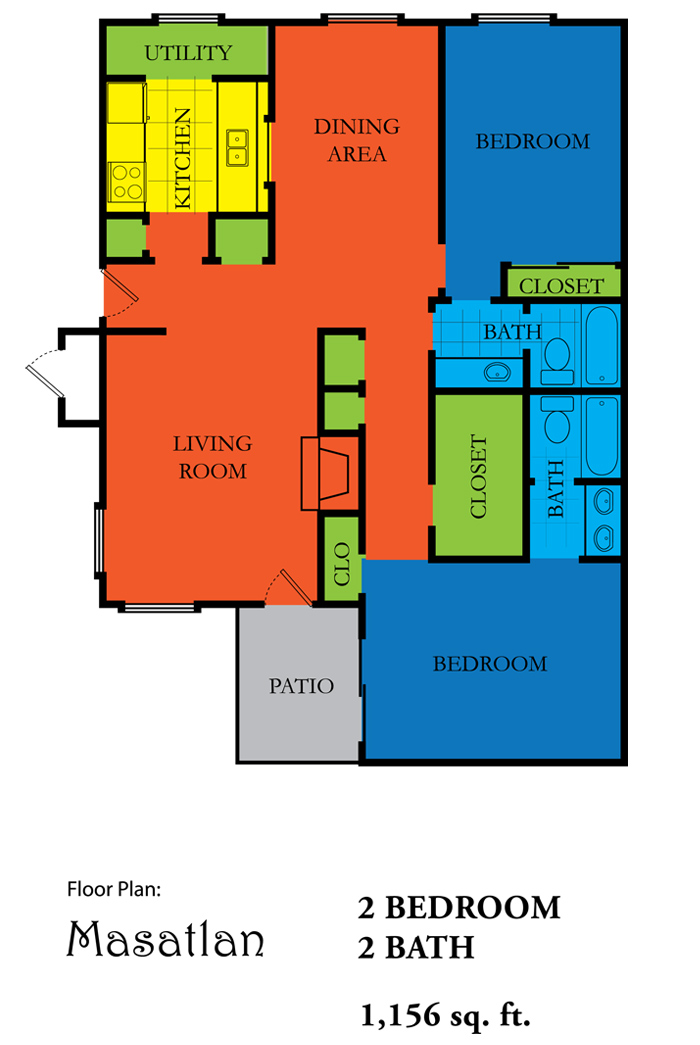 1,156 sq. ft. MAZUTLAN floor plan