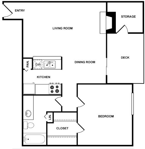 761 sq. ft. Intrepid floor plan