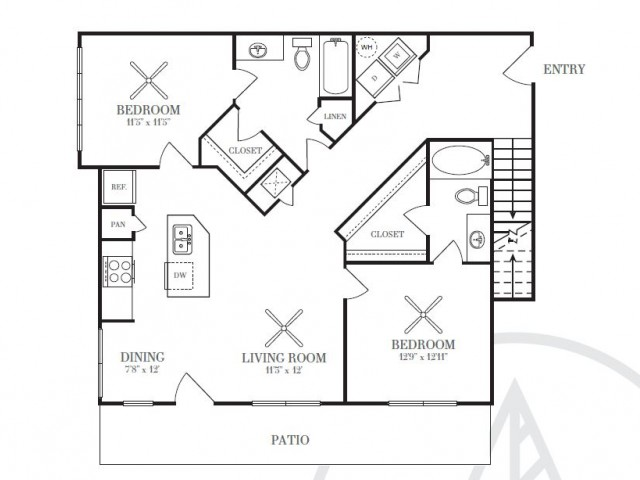 1,093 sq. ft. B2D floor plan