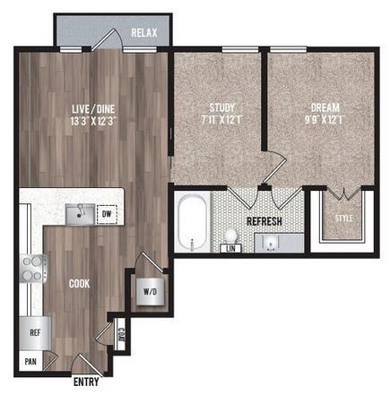 761 sq. ft. A3.3 floor plan