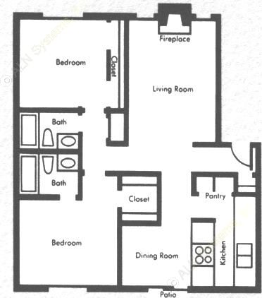 1,067 sq. ft. 2b2b floor plan