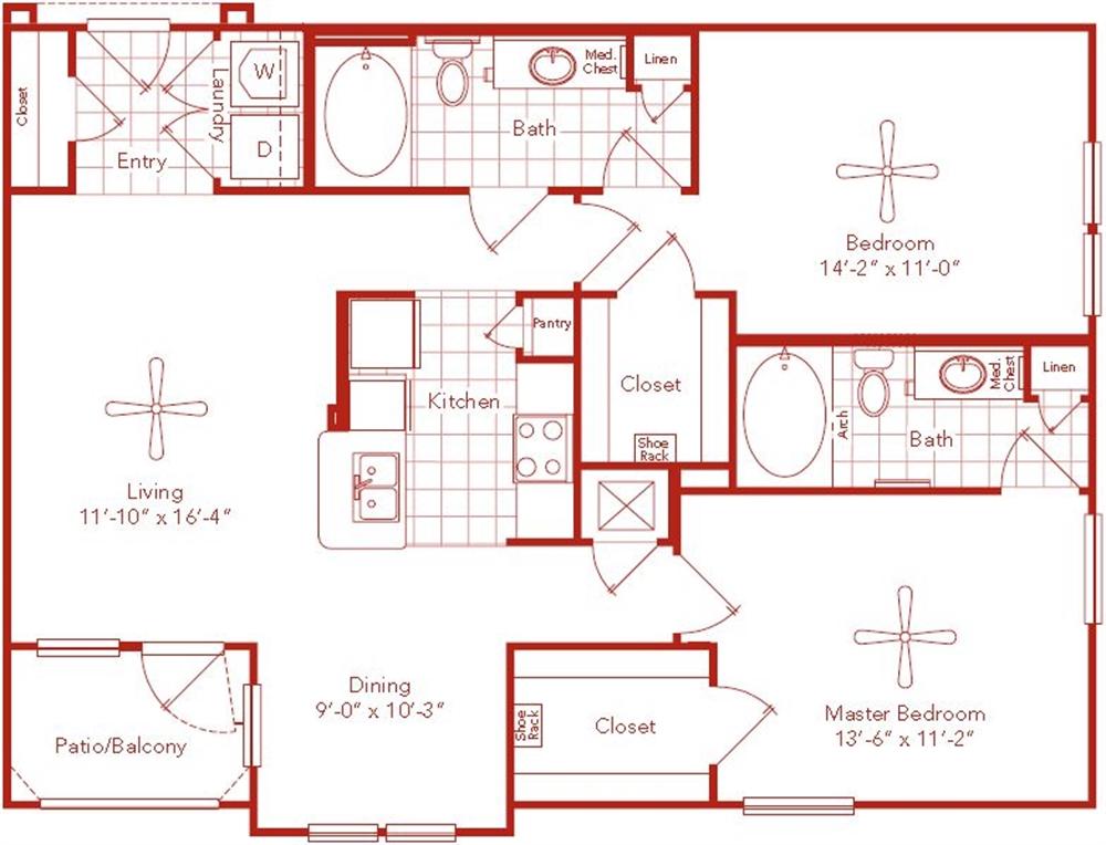1,102 sq. ft. Alabama floor plan