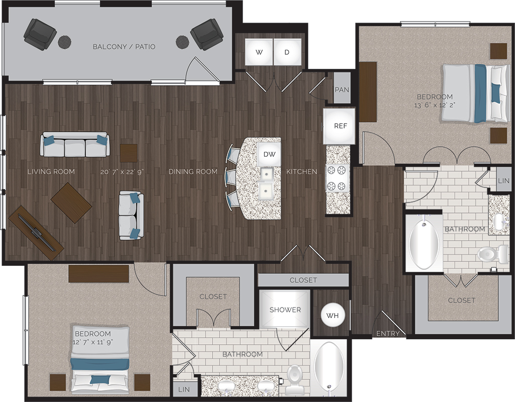 1,300 sq. ft. B6 floor plan
