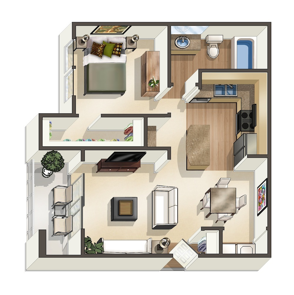 825 sq. ft. Mahalo floor plan