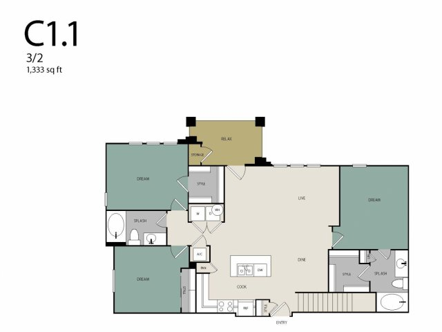 1,333 sq. ft. C1G floor plan