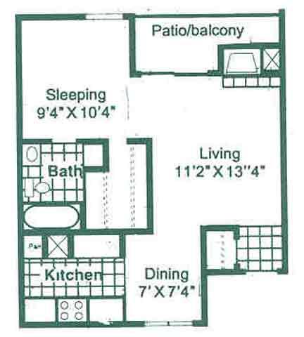 526 sq. ft. A1 floor plan
