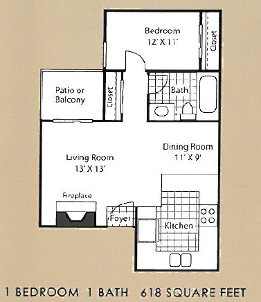 618 sq. ft. A1 floor plan