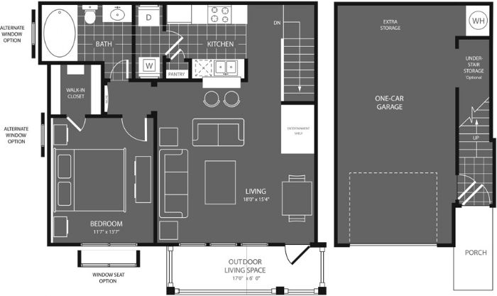 785 sq. ft. Willow floor plan
