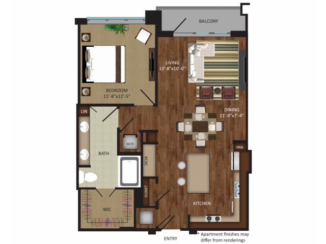 873 sq. ft. A8A floor plan