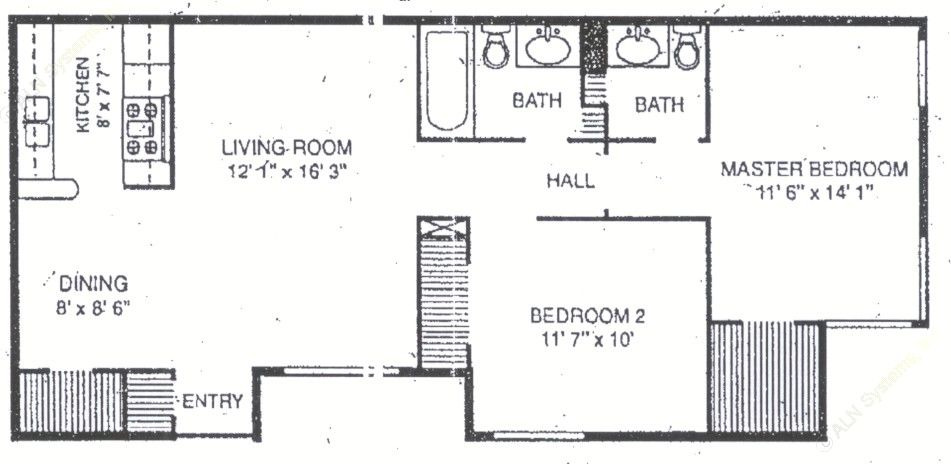 899 sq. ft. B-3 floor plan