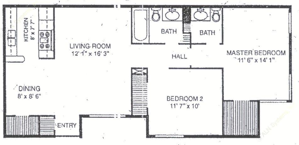 899 sq. ft. B-3 floor plan