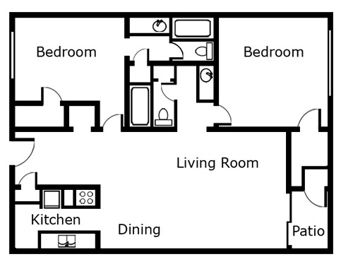1,044 sq. ft. B1 floor plan