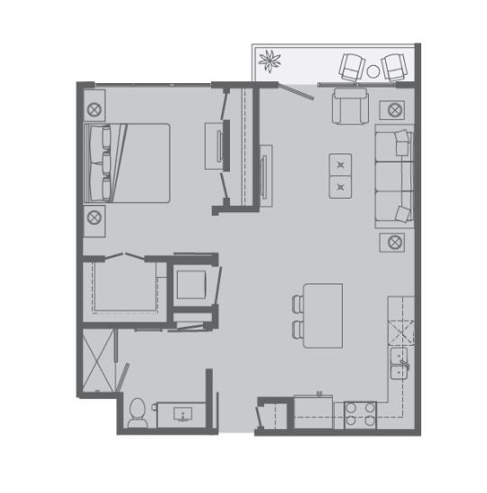 680 sq. ft. A floor plan