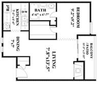 548 sq. ft. A1 floor plan